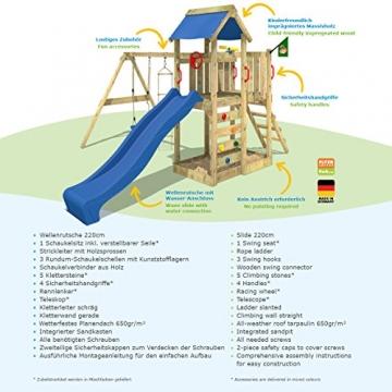 WICKEY Spielturm 'MultiFlyer' Klettergerüst mit blauer Rutsche und oranger Plane - 5