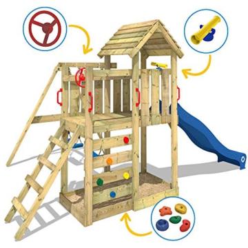 WICKEY Spielturm MultiFlyer - Klettergerüst mit massivem Holzdach, Schaukel, Kletterwand und -leiter, violetter Wellenrutsche und viel Spiel-Zubehör - 2
