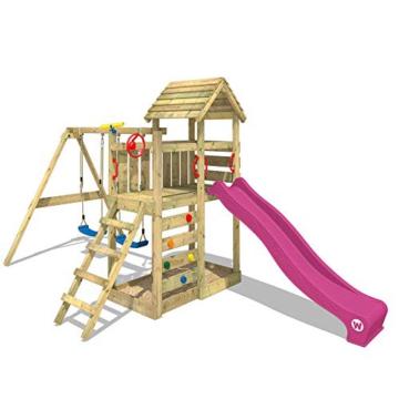 WICKEY Spielturm MultiFlyer - Klettergerüst mit massivem Holzdach, Schaukel, Kletterwand und -leiter, violetter Wellenrutsche und viel Spiel-Zubehör - 3