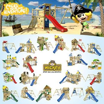WICKEY Spielturm MultiFlyer - Klettergerüst mit massivem Holzdach, Schaukel, Kletterwand und -leiter, violetter Wellenrutsche und viel Spiel-Zubehör - 4