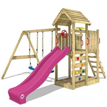 WICKEY Spielturm MultiFlyer - Klettergerüst mit massivem Holzdach, Schaukel, Kletterwand und -leiter, violetter Wellenrutsche und viel Spiel-Zubehör - 1