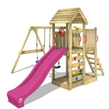 WICKEY Spielturm MultiFlyer - Klettergerüst mit massivem Holzdach, Schaukel, Kletterwand und -leiter, violetter Wellenrutsche und viel Spiel-Zubehör - 5