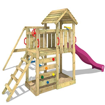 WICKEY Spielturm MultiFlyer - Klettergerüst mit massivem Holzdach, Schaukel, Kletterwand und -leiter, violetter Wellenrutsche und viel Spiel-Zubehör - 6