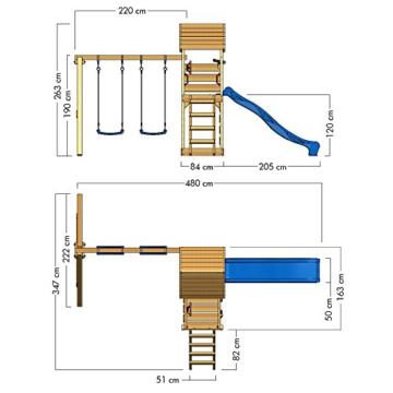 WICKEY Spielturm MultiFlyer - Klettergerüst mit massivem Holzdach, Schaukel, Kletterwand und -leiter, violetter Wellenrutsche und viel Spiel-Zubehör - 7