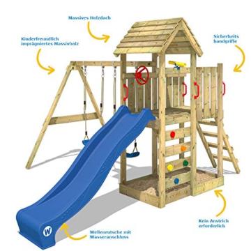 WICKEY Spielturm MultiFlyer - Klettergerüst mit massivem Holzdach, Schaukel, Kletterwand und -leiter, violetter Wellenrutsche und viel Spiel-Zubehör - 8