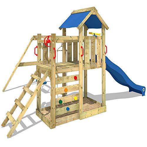 WICKEY Spielturm MultiFlyer Kletterturm Spielplatz Garten mit Schaukel, Rutsche und Kletterwand, grüne Rutsche + grüne Plane - 2