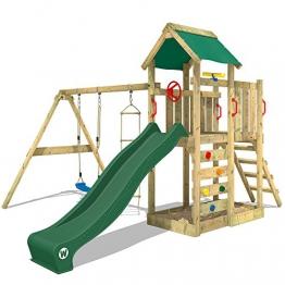 WICKEY Spielturm MultiFlyer Kletterturm Spielplatz Garten mit Schaukel, Rutsche und Kletterwand, grüne Rutsche + grüne Plane - 1