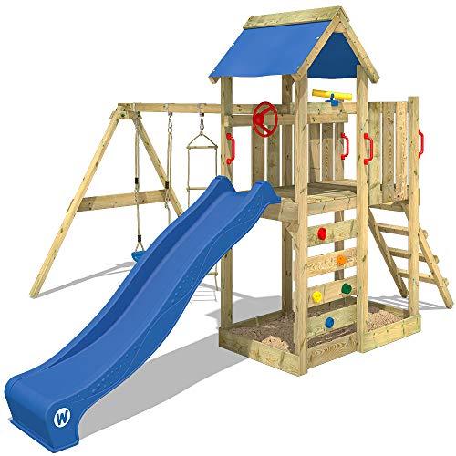 WICKEY Spielturm MultiFlyer Kletterturm Spielplatz Garten mit Schaukel, Rutsche und Kletterwand, grüne Rutsche + grüne Plane - 4