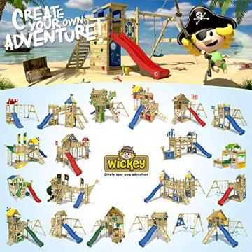 WICKEY Spielturm MultiFlyer Kletterturm Spielplatz Garten mit Schaukel, Rutsche und Kletterwand, grüne Rutsche + grüne Plane - 5