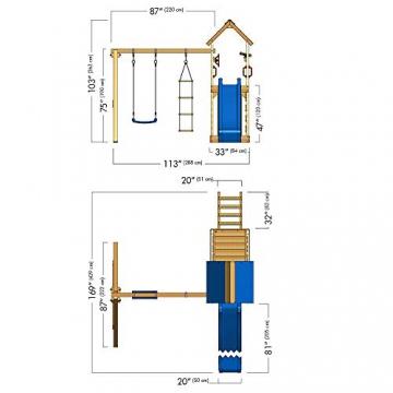 WICKEY Spielturm MultiFlyer Kletterturm Spielplatz Garten mit Schaukel, Rutsche und Kletterwand, grüne Rutsche + grüne Plane - 6