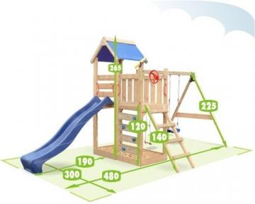 WICKEY Spielturm MultiFlyer mit Rutsche + Schaukel in blau - Stelzenhaus Klettergerüst Sandkasten -