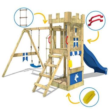 WICKEY Spielturm Ritterburg KnightFlyer mit Schaukel & blauer Rutsche, Spielhaus mit Sandkasten, Kletterleiter & Spiel-Zubehör - 2