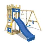 WICKEY Spielturm Ritterburg KnightFlyer mit Schaukel & blauer Rutsche, Spielhaus mit Sandkasten, Kletterleiter & Spiel-Zubehör - 1
