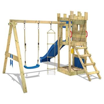 WICKEY Spielturm Ritterburg KnightFlyer mit Schaukel & blauer Rutsche, Spielhaus mit Sandkasten, Kletterleiter & Spiel-Zubehör - 4