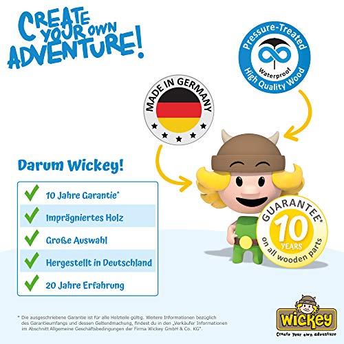 WICKEY Spielturm Ritterburg KnightFlyer mit Schaukel & blauer Rutsche, Spielhaus mit Sandkasten, Kletterleiter & Spiel-Zubehör - 7