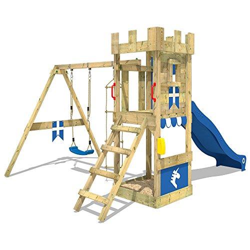 WICKEY Spielturm Ritterburg KnightFlyer mit Schaukel & grüner Rutsche, Spielhaus mit Sandkasten, Kletterleiter & Spiel-Zubehör - 2
