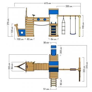WICKEY Spielturm-Schiff ArcticFlyer Kletterturm in Schiffsoptik Klettergerüst mit Schaukel, Rutsche, Strickleiter und zwei Sandkästen, blaue Plane + blaue Rutsche - 6
