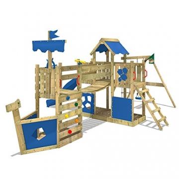 WICKEY Spielturm-Schiff ArcticFlyer Kletterturm in Schiffsoptik Klettergerüst mit Schaukel, Rutsche, Strickleiter und zwei Sandkästen, blaue Plane + blaue Rutsche -
