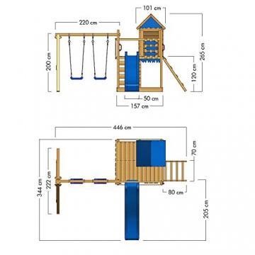 WICKEY Spielturm Smart Cave - Klettergerüst mit Stelzenhaus, Schaukel, Sandkasten, Kletterwand und -leiter, blauer Plane und roter Wellenrutsche - 3