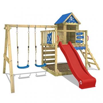 WICKEY Spielturm Smart Cave - Klettergerüst mit Stelzenhaus, Schaukel, Sandkasten, Kletterwand und -leiter, blauer Plane und roter Wellenrutsche - 1