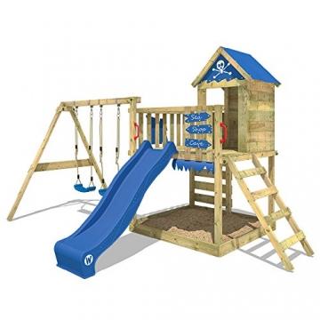 WICKEY Spielturm Smart Cave Kletterturm Spielhaus auf Podest mit Schaukel und Rutsche, großem Sandkasten, Kletterwand und Kletterleiter - 2