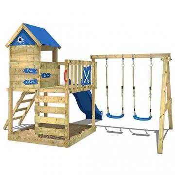 WICKEY Spielturm Smart Cave Kletterturm Spielhaus auf Podest mit Schaukel und Rutsche, großem Sandkasten, Kletterwand und Kletterleiter - 3