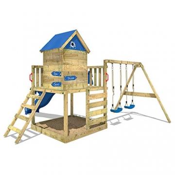 WICKEY Spielturm Smart Cave Kletterturm Spielhaus auf Podest mit Schaukel und Rutsche, großem Sandkasten, Kletterwand und Kletterleiter - 4