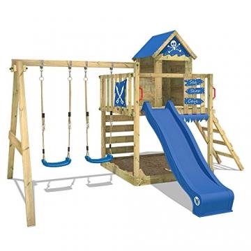 WICKEY Spielturm Smart Cave Kletterturm Spielhaus auf Podest mit Schaukel und Rutsche, großem Sandkasten, Kletterwand und Kletterleiter - 1