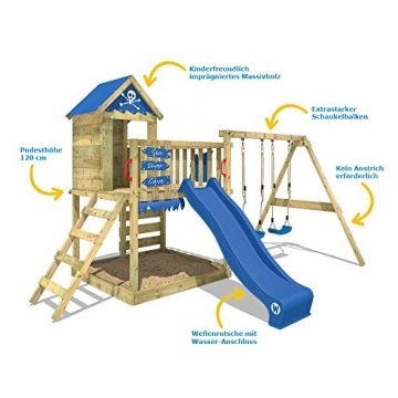 WICKEY Spielturm Smart Cave Kletterturm Spielhaus auf Podest mit Schaukel und Rutsche, großem Sandkasten, Kletterwand und Kletterleiter - 7