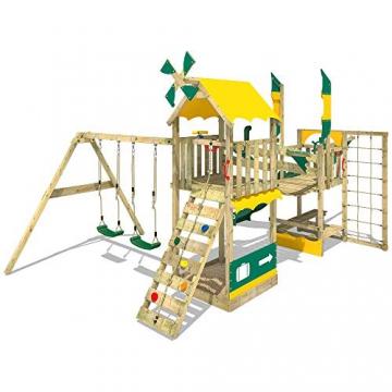 WICKEY Spielturm Smart Cruiser mit Doppelschaukel, Rutsche, Kletternetz, Wackelbrücke, Kletterleiter und großem Sandkasten - 2