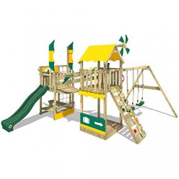WICKEY Spielturm Smart Cruiser mit Doppelschaukel, Rutsche, Kletternetz, Wackelbrücke, Kletterleiter und großem Sandkasten - 3