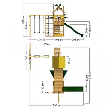 WICKEY Spielturm Smart Cruiser mit Doppelschaukel, Rutsche, Kletternetz, Wackelbrücke, Kletterleiter und großem Sandkasten - 5