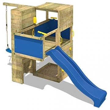 WICKEY Spielturm Smart Cube Kletterturm in modernem Design Spielhaus Holz Garten mit Schaukel, Rutsche, Kletterwand, Sandkasten und Holzdach, blaue Rutsche + blaue Plane -
