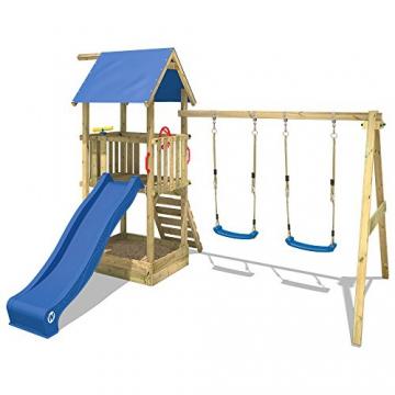 WICKEY Spielturm Smart Echo Spielplatz Kletterturm mit Sandkasten, Doppelschaukel und Rutsche - 2
