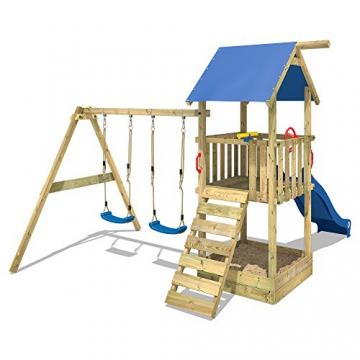 WICKEY Spielturm Smart Echo Spielplatz Kletterturm mit Sandkasten, Doppelschaukel und Rutsche - 3