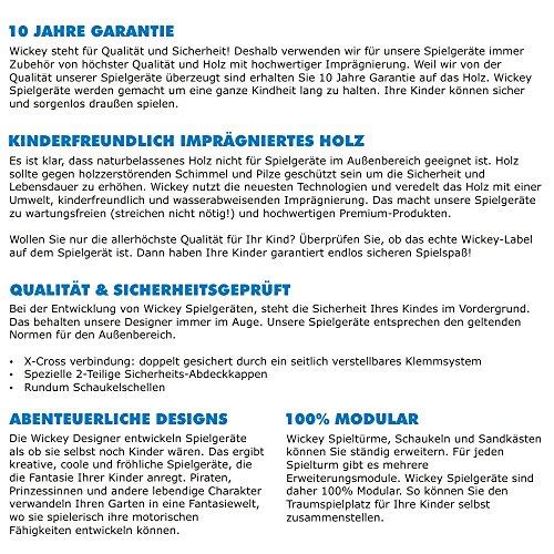 WICKEY Spielturm Smart Empire mit Rutsche, Schaukel & Sandkasten - Kletterturm (blaue Dachplane / blaue Rutsche) -