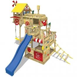 WICKEY Spielturm Smart Express Kletterturm Zug Spielgerät Holz mit Kletterleiter, Doppelschaukel, Sandkasten, blaue Rutsche + Plane rot-gelb -