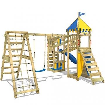 WICKEY Spielturm Smart Legend 120 Kletterturm Spielplatz Ritterburg mit Schaukel und Rutsche, Sandkasten, Kletteranbau und Wackelbrücke - 3