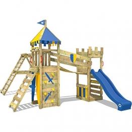 WICKEY Spielturm Smart Legend 120 Kletterturm Spielplatz Ritterburg mit Schaukel und Rutsche, Sandkasten, Kletteranbau und Wackelbrücke - 1