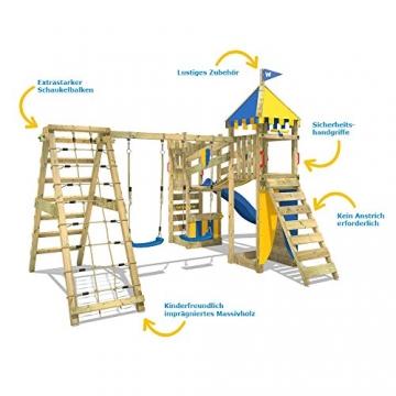 WICKEY Spielturm Smart Legend 120 Kletterturm Spielplatz Ritterburg mit Schaukel und Rutsche, Sandkasten, Kletteranbau und Wackelbrücke - 4