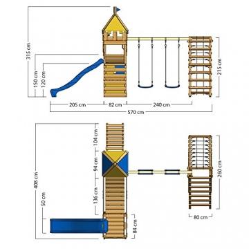 WICKEY Spielturm Smart Legend 120 Kletterturm Spielplatz Ritterburg mit Schaukel und Rutsche, Sandkasten, Kletteranbau und Wackelbrücke - 6