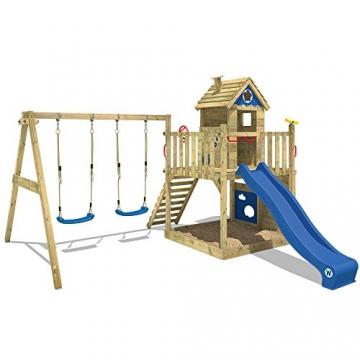 WICKEY Spielturm Smart Lodge 120 Kletterturm Baumhaus Garten mit Spielhaus, Doppelschaukel, großem Sandkasten, Kletterwand, grüne Rutsche + grüne Plane - 2
