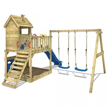 WICKEY Spielturm Smart Lodge 120 Kletterturm Baumhaus Garten mit Spielhaus, Doppelschaukel, großem Sandkasten, Kletterwand, grüne Rutsche + grüne Plane - 3