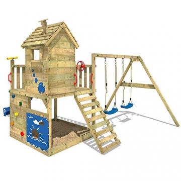 WICKEY Spielturm Smart Lodge 120 Kletterturm Baumhaus Garten mit Spielhaus, Doppelschaukel, großem Sandkasten, Kletterwand, grüne Rutsche + grüne Plane - 4