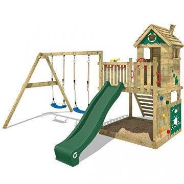 WICKEY Spielturm Smart Lodge 120 Kletterturm Baumhaus Garten mit Spielhaus, Doppelschaukel, großem Sandkasten, Kletterwand, grüne Rutsche + grüne Plane - 1