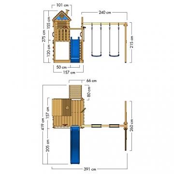 WICKEY Spielturm Smart Lodge 120 Kletterturm Baumhaus Garten mit Spielhaus, Doppelschaukel, großem Sandkasten, Kletterwand, grüne Rutsche + grüne Plane - 6