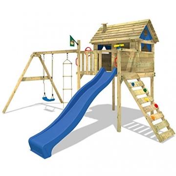 WICKEY Spielturm Smart Plaza Stelzenhaus Rutsche Schaukel Blaue Rutsche / Blaue Plane -