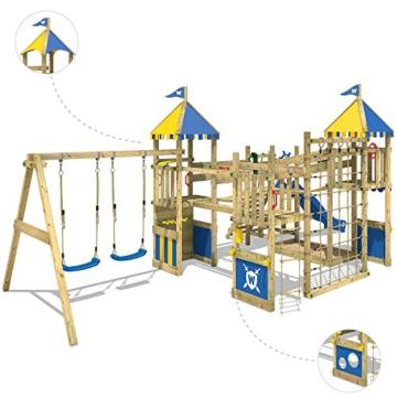 WICKEY Spielturm Smart Queen - Riesiges Klettergerüst mit Schaukel, Sandkasten, Kletterwänden und -leiter, Wackelbrücken, blauer Wellenrutsche und viel Spiel-Zubehör - 2