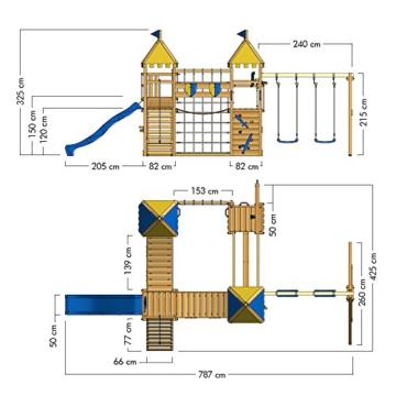 WICKEY Spielturm Smart Queen - Riesiges Klettergerüst mit Schaukel, Sandkasten, Kletterwänden und -leiter, Wackelbrücken, blauer Wellenrutsche und viel Spiel-Zubehör - 3