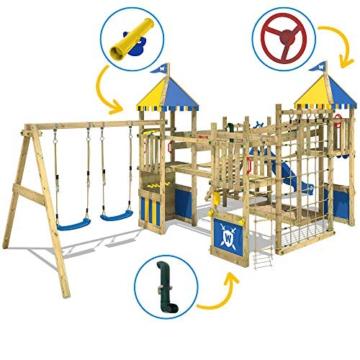 WICKEY Spielturm Smart Queen - Riesiges Klettergerüst mit Schaukel, Sandkasten, Kletterwänden und -leiter, Wackelbrücken, blauer Wellenrutsche und viel Spiel-Zubehör - 4